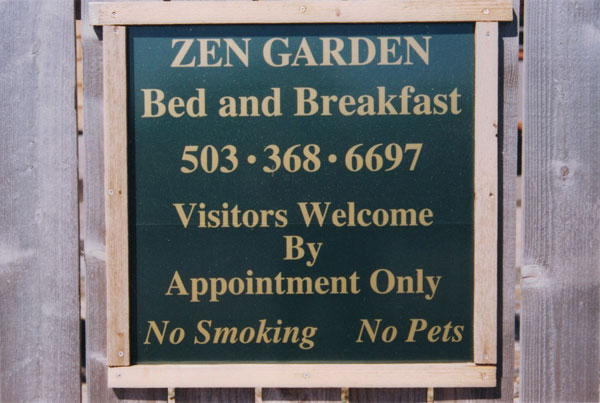 Zen Garden Bed and Breakfast informational sign